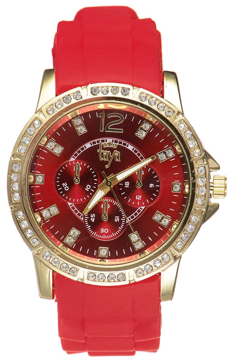 Часы наручные женские Taya, цвет: золотистый, красный. T-W-0229BM8434-58AEСтильные женские часы Taya выполнены из минерального стекла, силикона и нержавеющей стали. Циферблат и корпус часов инкрустированы стразами и оформлены символикой бренда.Корпус часов оснащен кварцевым механизмом со сменным элементом питания, а также силиконовым ремешком с практичной пряжкой. Циферблат дополнен тремя декоративными отметками. На стрелки нанесен светящийся состав.Часы поставляются в фирменной упаковке.Часы Taya подчеркнут изящность женской руки и отменное чувство стиля у их обладательницы.
