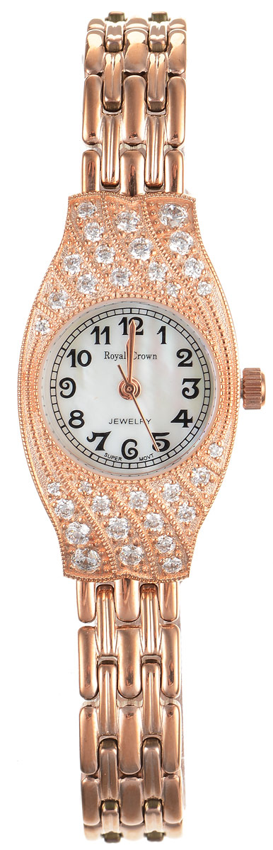 Часы наручные женские Royal Crown, цвет: золотой. 2502S-RSG-6BM8434-58AEСтильные женские часы оригинальной формы Royal Crown изготовлены из высокотехнологичной гипоаллергенной нержавеющей стали и латуни. Покрытие корпуса и браслета - палладий с розовым золотом и родием, что придает часам благородный блеск драгоценных металлов. Кварцевый механизм имеет степень влагозащиты равную 3 Bar и дополнен часовой, минутной и секундной стрелками. Корпус часов украшен цирконами. Для того чтобы защитить циферблат от повреждений в часах используется высокопрочное минеральное стекло.На перламутровом циферблате арабские цифры органично сочетаются с изящными стрелками.Браслет комплектуется надежным и удобным в использовании складным замком, который позволит с легкостью снимать и надевать часы.Часы упакованы в фирменную коробку и дополнительно в подарочную сумку с названием бренда.Часы Royal Crown подчеркнут изящность женской руки и отменное чувство стиля у их обладательницы.