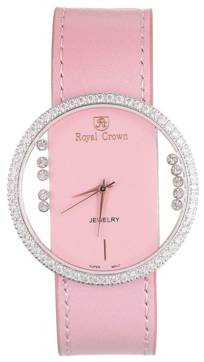 Часы наручные женские Royal Crown, цвет: светло-розовый, серебристый. 6110-RDM-4BM8434-58AEСтильные женские часы Royal Crown изготовлены из нержавеющей стали и латуни, дополнены ремешком из натуральной кожи. Ремешок оформлен с внутренней стороны тиснением логотипа бренда. Для того чтобы защитить циферблат от повреждений в часах используется высокопрочное минеральное стекло. Корпус изделия оригинального дизайна, инкрустирован по кругу сверкающими чешскими цирконами и украшен россыпью камней, расположенных под стеклом и перемещающихся при движении руки. Циферблат выполнен без отметок и дополнен часовой, минутной и секундной стрелками.Корпус часов оснащен кварцевым механизмом, который имеет степень влагозащиты равную 3 Bar. Браслет комплектуется надежной и удобной в использовании застежкой-пряжкой, которая позволит с легкостью снимать и надевать часы, а также регулировать длину браслета. Часы упакованы в фирменную коробку и дополнительно в подарочный пакет с названием бренда.Часы Royal Crown подчеркнут изящность женской руки и отменное чувство стиля у их обладательницы.