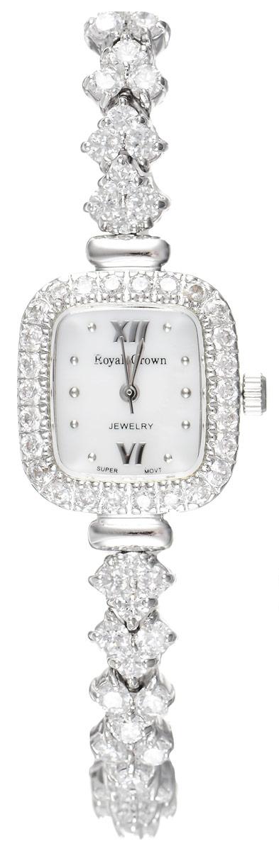 Часы наручные женские Royal Crown, цвет: серебряный, белый. 1514-B12-RDM-5BM8434-58AEЭлегантные женские часы геометрической формы Royal Crown изготовлены из высокотехнологичной гипоаллергенной нержавеющей стали. Корпус и браслет изделия инкрустированы стразами. Браслет выполнен оригинальным плетением. На перламутровом циферблате римские цифры органично сочетаются с точками и маленькими стрелками.Корпус часов оснащен кварцевым механизмом, который имеет степень влагозащиты равную 3 Bar, а также устойчивым к царапинам минеральным стеклом. Практичный складной замок, предусмотренный в конструкции браслета, позволит без затруднения снимать и надевать часы.Часы упакованы в фирменную коробку и дополнительно в подарочную сумку с названием бренда.Часы Royal Crown подчеркнут изящность женской руки и отменное чувство стиля у их обладательницы.
