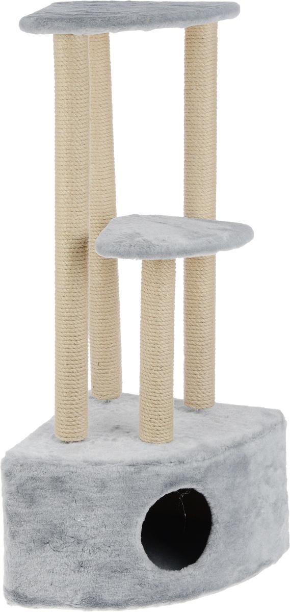 Игровой комплекс для кошек Меридиан, 3-ярусный, угловой, с домиком и когтеточкой, цвет: светло-серый, бежевый, 42 х 42 х 110 см0120710Игровой комплекс для кошек Меридиан выполнен из высококачественного ДВП и ДСП и обтянут искусственным мехом. Изделие предназначено для кошек. Комплекс имеет 3 яруса. Ваш домашний питомец будет с удовольствием точить когти о специальные столбики, изготовленные из джута. А отдохнуть он сможет либо на полках, либо в расположенном внизу домике.Общий размер: 42 х 42 х 110 см.Размер домика: 42 х 42 х 28 см.Размер большой полки: 35 х 35 см.Размер малой полки: 26 х 26 см.