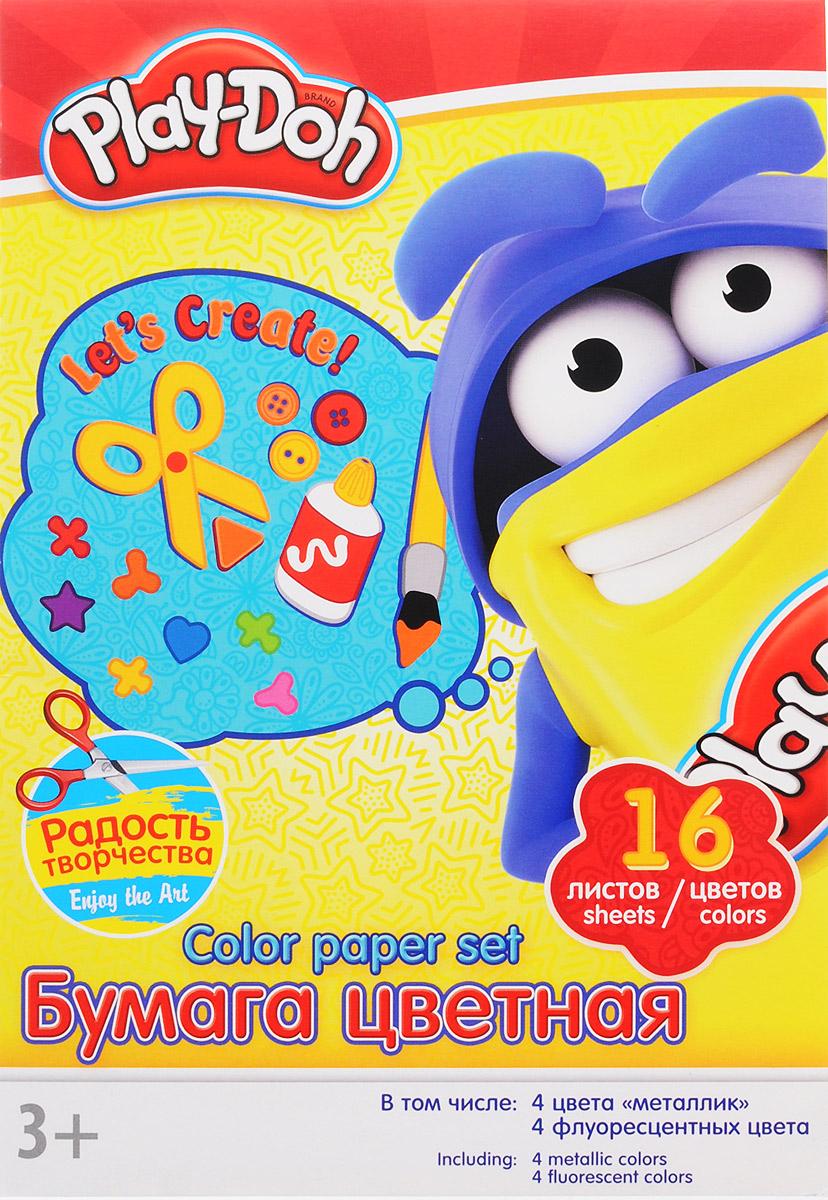 Цветная бумага Play-Doh формата А4 идеально подходит для детского творчества: создания аппликаций, оригами и многого другого.    В упаковке 16 листов бумаги 16 цветов: золотистый, серебристый, желтый, красный, пурпурный, зелёный, голубой, фиолетовый, коричневый, черный, розовый металл, голубой металл, лимонный флюор, салатовый флюор, оранжевый флюор, розовый флюор. На обороте набора расположена игра на внимание Найди 2 одинаковых Додошки.Детские аппликации из цветной бумаги - отличное занятие для развития творческих способностей и познавательной деятельности малыша, а также хороший способ самовыражения ребенка.    Рекомендуемый возраст: от 3 лет.