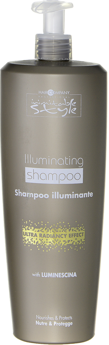 Hair Company Шампунь, придающий блеск Professional Inimitable Style Illuminating Shampoo 1000 млSatin Hair 7 BR730MNШампунь для блеска HAIR COMPANY INIMITABLE STYLE Illuminating Shampoo Питает и защищает волосы. Содержит специально разработанный ингредиент LUMINESCINE - отражает солнечные лучи, придает блеск и шелковистость волосам. Не содержит парабены и SLES. Защищает волосы и кожу головы. Подходит для тонких и ослабленных волос.