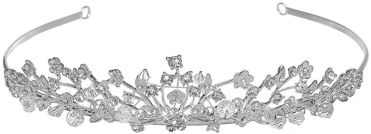 Диадема Selena Brilliance, цвет: серебряный. 70060379FS-00897Очаровательная диадема Selena Brilliance изготовлена из ювелирного сплава, инкрустирована стразами Swarovski и оформлена гранеными бусинами из ювелирного хрусталя.Королевское украшение блестяще подчеркнет красоту вашей прически.