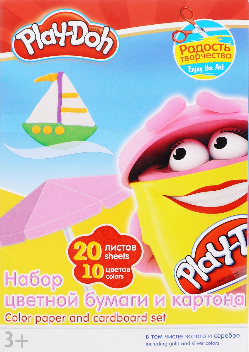 Play-Doh Набор цветной бумаги и картона 20 листов72523WDНабор цветной бумаги и картона Play-Doh формата А4 идеально подходит для детского творчества: создания аппликаций, оригами и многого другого.В упаковке 20 листов бумаги и картона 10 цветов: золотистый, серебристый, желтый, красный, пурпурный, зелёный, голубой, фиолетовый, коричневый, черный. На обороте набора расположена игра Обведи по точкам. Данная игра прекрасно развивает мелкую моторику рук ребенка.Детские аппликации из цветной бумаги - отличное занятие для развития творческих способностей и познавательной деятельности малыша, а также хороший способ самовыражения ребенка.Рекомендуемый возраст: от 3 лет.