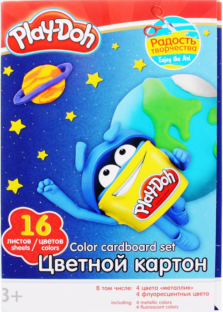 Play-Doh Цветной картон 16 листов72523WDНабор цветного картона Play-Doh формата А4 идеально подходит для детского творчества: создания аппликаций, оригами и многого другого.В упаковке 16 листов картона 16 цветов: золотистый, серебристый, желтый, красный, пурпурный, зелёный, голубой, фиолетовый, коричневый, черный, розовый металл, голубой металл, лимонный флюор, салатовый флюор, оранжевый флюор, розовый флюор. На обороте набора расположена игра на внимание Найди силуэт Додошки.Детские аппликации из цветной бумаги - отличное занятие для развития творческих способностей и познавательной деятельности малыша, а также хороший способ самовыражения ребенка.Рекомендуемый возраст: от 3 лет.