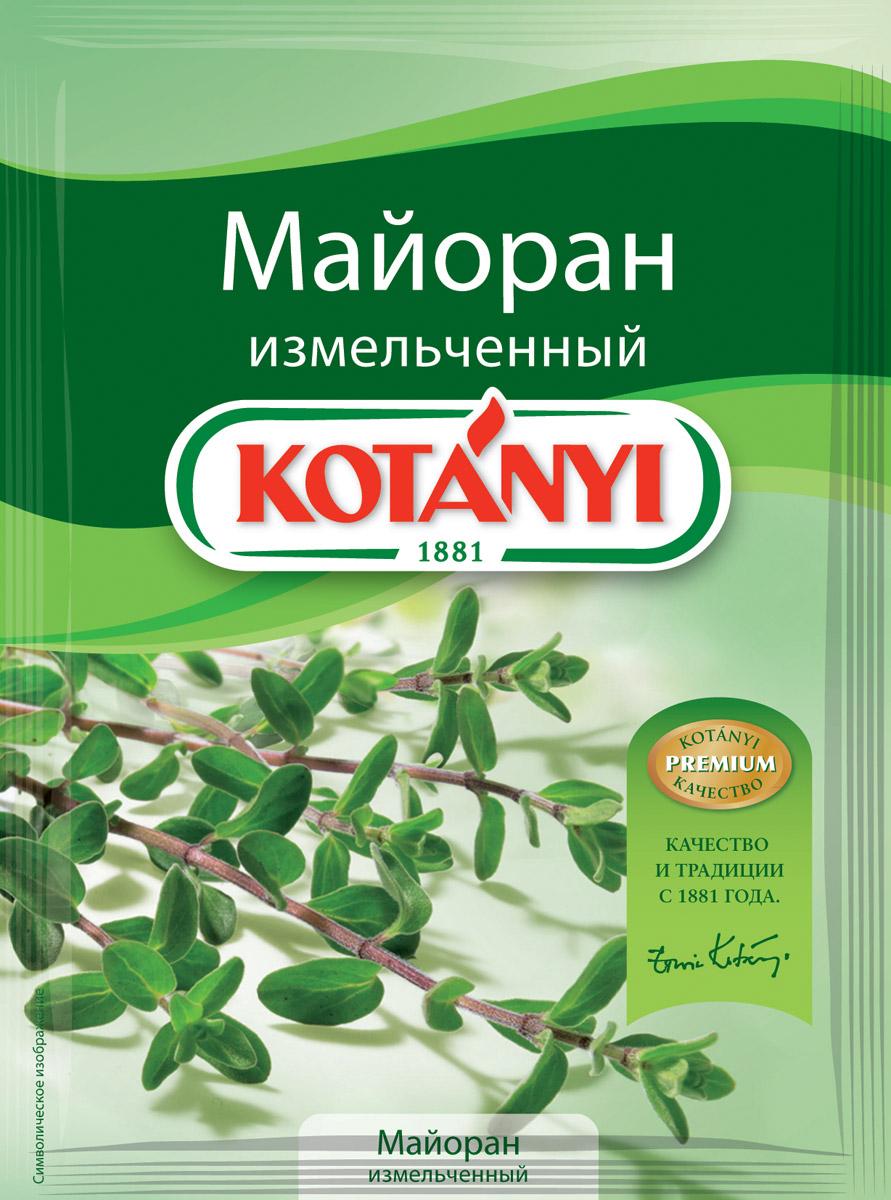 Kotanyi Майоран измельченный, 6 г116511Аромат майорана напоминает букет перца, мяты и кардамона. Благодаря бережному способу сушки майоран Kotanyi сохраняет эфирные масла, аромат которых заново раскрывается в процессе приготовления блюд.Применение: супы, салаты, соусы и соленья. Майоран также придаст восхитительный нежный вкус блюдам из мяса и дичи, жареного картофеля, бобовых, грибов, капусты.