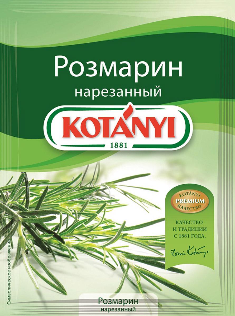 Kotanyi Розмарин нарезанный, 15 г0120710Розмарин обладает сильным ароматом и пряным, слегка горьковатым вкусом. Эфирные масла, содержащиеся в розмарине, придают блюдам неповторимый средиземноморский вкус. Розмарин идеально подходит для жарки и запекания.Применение: супы, блюда из овощей, рыбные и мясные блюда.