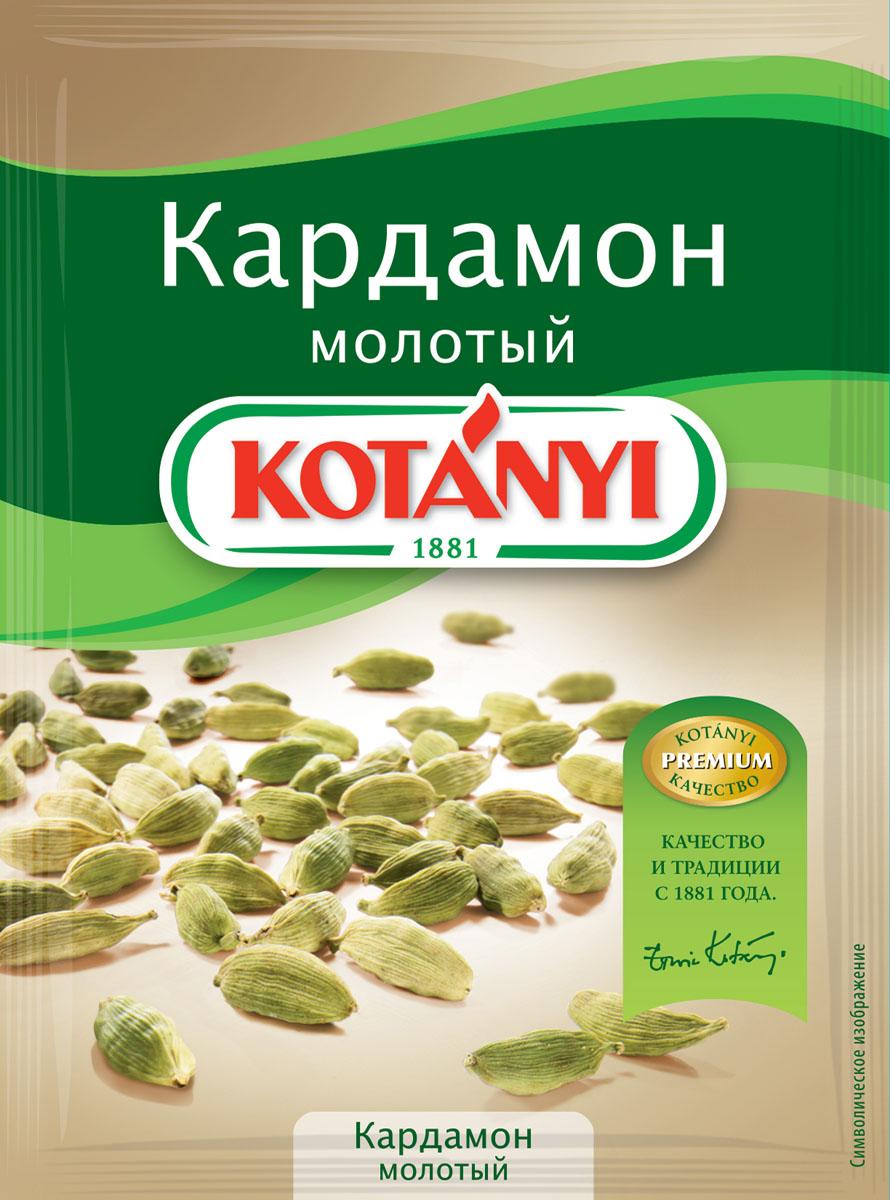 Kotanyi Кардамон молотый, 10 г150711Кардамон обладает ярким вкусом и ароматом, напоминающим эвкалипт. Кардамон Kotanyi придаст вашим блюдам пикантную восточную нотку.Применение: подходит для мясных блюд, а также для сладких блюд и выпечки, глинтвейна, кофе, чая и других горячих напитков.