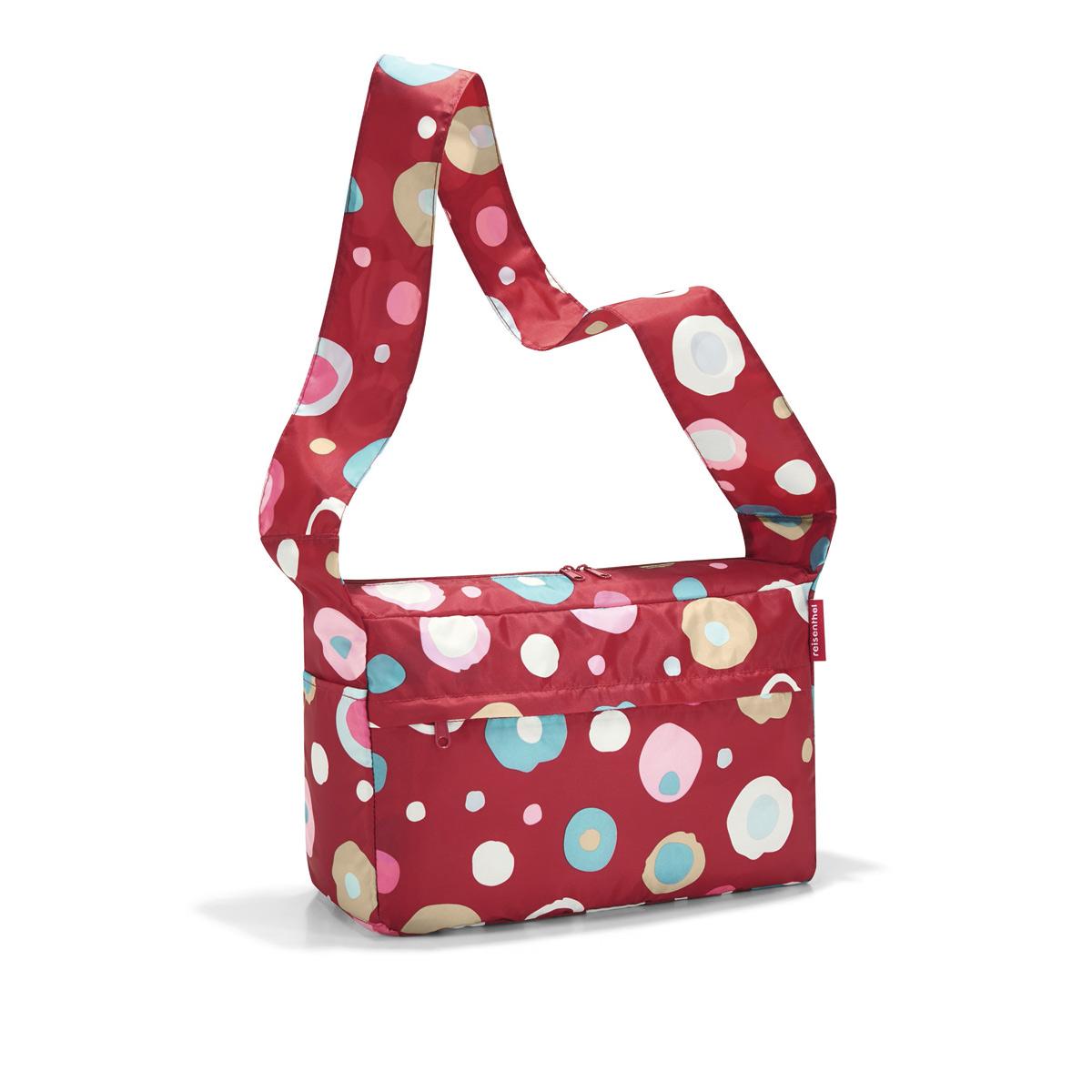 Сумка женская Reisenthel, складная, цвет: темно-красный, голубой, розовый. AL3048S76245Стильная женская сумка Reisenthel изготовлена из текстиля с оригинальным принтом. Сумка имеет одно отделение, которое закрывается на застежку-молнию с двумя бегунками. Внутри имеется нашивной карман на застежке-молнии, в который сумка складывается и приобретает компактный вид. Снаружи, на передней стенке расположен накладной карман на застежке-молнии, по бокам - открытые накладные карманы. Изделие оснащено удобным плечевым ремнем.