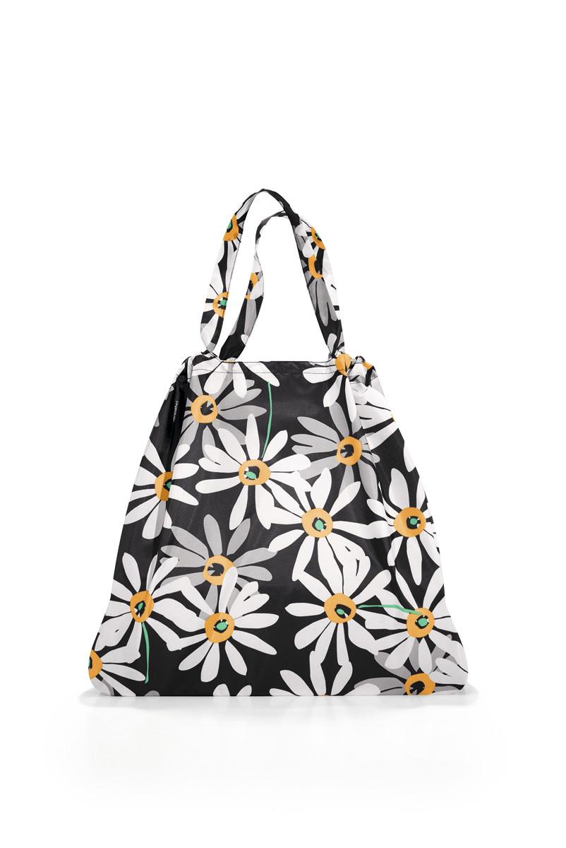 Сумка женская Reisenthel, складная, цвет: черный, белый, серый. AR7038S76245Модная женская сумка Reisenthel выполнена из текстиля и оформлена цветочным принтом. Изделие имеет одно большое отделение. Внутри расположен нашивной карман на застежке-молнии, в который сумка легко складывается. Сумка оснащена двумя ручками.