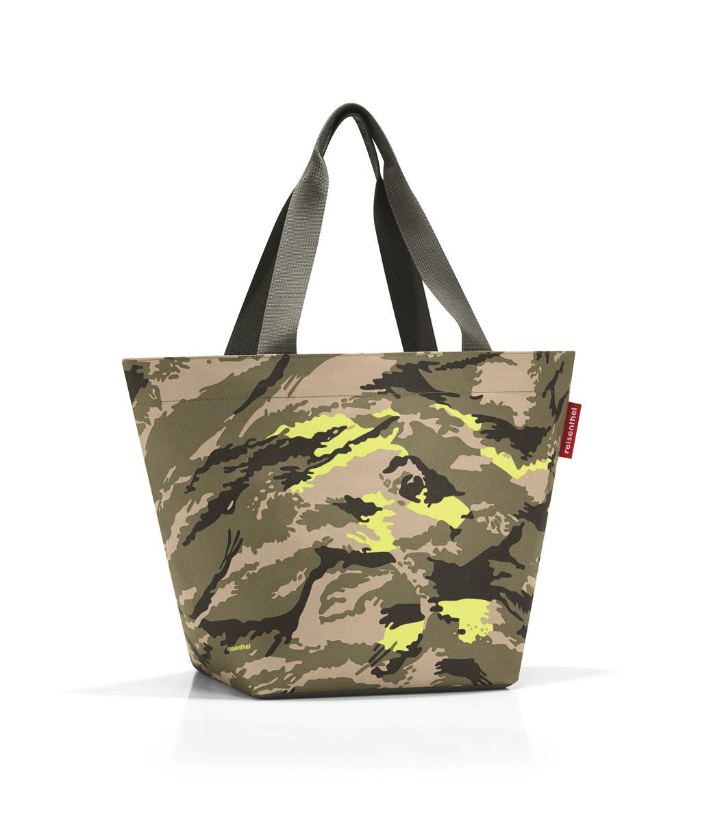 Сумка Reisenthel, цвет: хаки, бежевый, темно-коричневый. ZS5034BA7426Вместительная сумка Reisenthel изготовлена из текстиля и оформлена оригинальным принтом. Сумка имеет одно отделение, которое закрывается на застежку-молнию. Внутри расположен нашивной карман на застежке-молнии. Сумка оснащена двумя длинными ручками.