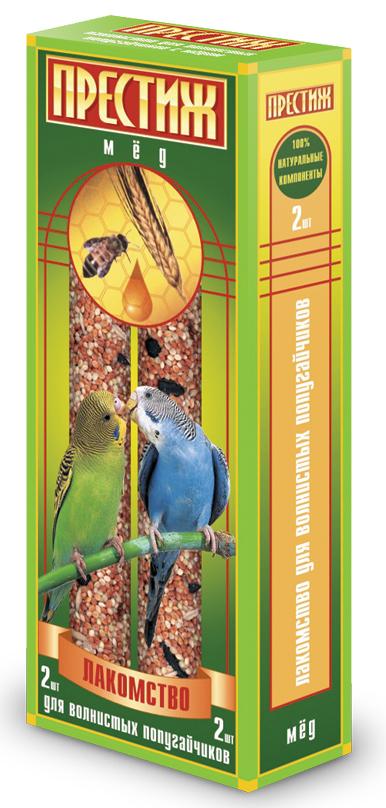 Лакомство для волнистых попугаев Престиж, палочки с медом, 2 шт2445Лакомство Престиж для волнистых попугаев в виде жестких палочек с медом, не только разнообразит корм, но и способствует необходимому уходу за клювом вашего питомца. Регулярное употребление жестких палочек гарантирует очищение и необходимое стачивание клюва. Это лакомство удобно в качестве корма в выходные дни, повесив одну палочку в клетку, вы обеспечите птицу кормом на 2-4 дня.Состав: просо красное, просо белое, просо желтое, овес, льняное семя, семена подсолнечника, канареечное семя, мед, витамины. Товар сертифицирован.