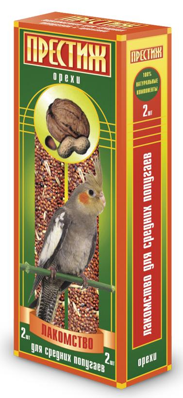 Лакомство для средних попугаев Престиж, палочки с орехами, 2 шт лакомство для средних попугаев престиж палочки с орехами 2 шт