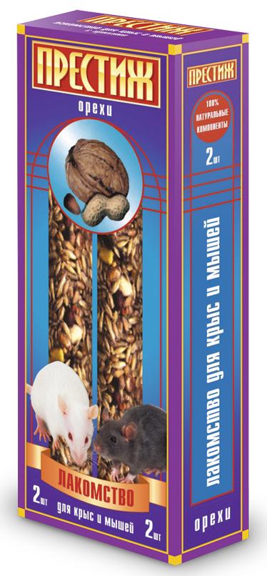 Лакомство для декоративных крыс и мышей Престиж, палочки с орехами, 2 шт10151135Лакомство Престиж для декоративных крыс и мышей в виде жестких палочек - это идеально сбалансированное лакомство специально для грызунов, в состав которого входят все самое полезное и необходимое и способно понравиться даже самому капризному зверьку. Лакомство является жестким, а потому оно идеально подходит для необходимого стачивания резцов у грызунов.Состав: ячмень, пшеница, кукуруза, горох плющеный, арахис в скорлупе, семена подсолнечника, орехи, витамины. Товар сертифицирован.