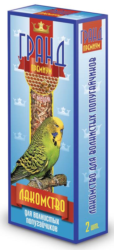 Лакомство для волнистых попугаев ГРАНД Премиум палочки с медом и яйцом, 2 шт2558Лакомство ГРАНД Премиум для Волнистых попугаев в виде жестких палочек с медом, не только разнообразит корм, но и способствует необходимому уходу за клювом Вашего питомца. Регулярное употребление жестких палочек гарантирует очищение и необходимое стачивание клюва. Это лакомство удобно в качестве корма в выходные дни, повесив одну палочку в клетку, вы обеспечите птицу кормом на 2-4 дня. Состав: Просо красное, просо белое, просо желтое, овес, льняное семя, семена подсолнечника, канареечное семя, мед, витамины.