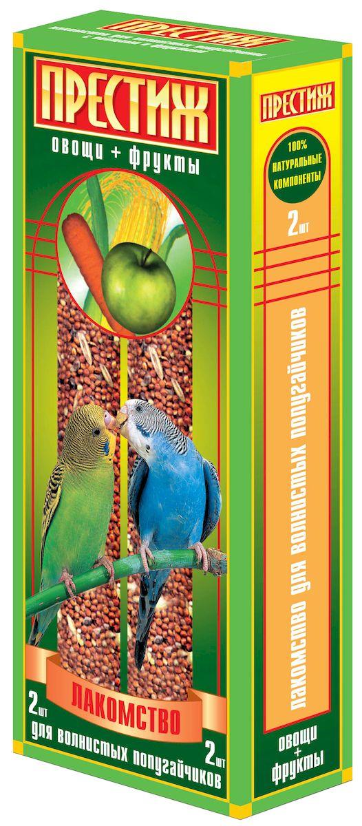 Лакомство для волнистых попугаев Престиж, палочки с овощами и фруктами, 2 шт0120710Лакомство Престиж для волнистых попугаев в виде жестких палочек с овощами и фруктами, не только разнообразит корм, но и способствует необходимому уходу за клювом вашего питомца. Регулярное употребление жестких палочек гарантирует очищение и необходимое стачивание клюва. Это лакомство удобно в качестве корма в выходные дни, повесив одну палочку в клетку, вы обеспечите птицу кормом на 2-4 дня.Состав: просо красное, просо белое, просо желтое, овес, льняное семя, семена подсолнечника, канареечное семя, овощи, фрукты, витамины. Товар сертифицирован.