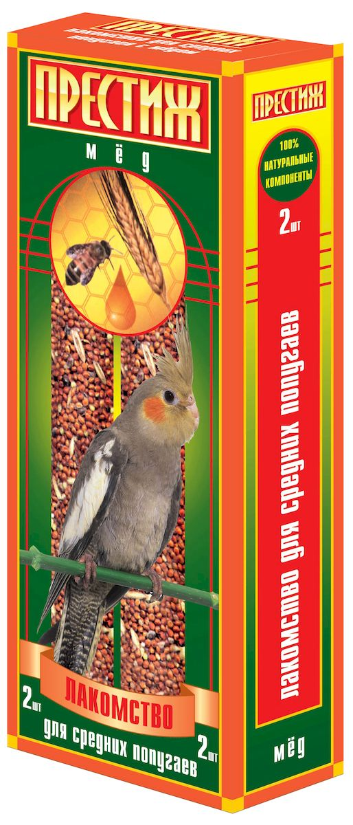 Лакомство для средних попугаев Престиж палочки с медом, 2 шт7350033851456Лакомство Престиж для Средних попугаев в виде жестких палочек с медом, является отличным и полезным разнообразием корма для Вашего питомца. Обладает достаточной жесткостью, что способствует обязательному стачиванию и очищению клюва попугая, а так же вызывает особый интерес добывание пищи самостоятельно, отщепляя зерна с палочки.Состав: Просо красное, просо белое, просо желтое, овес, льняное семя, кукуруза, семена подсолнечника, канареечное семя, полосатые(турецкие) семена подсолнечника, мед, витамины.
