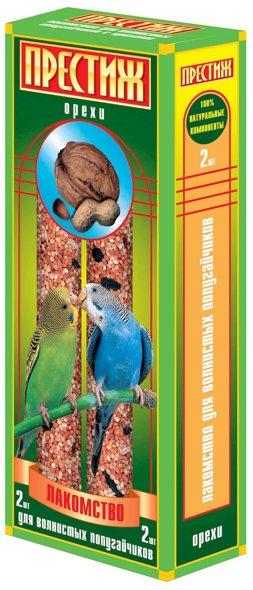 Лакомство для волнистых попугаев Престиж, палочки с орехами, 2 шт103201017Лакомство Престиж для волнистых попугаев в виде жестких палочек с орехами, не только разнообразит корм, но и способствует необходимому уходу за клювом вашего питомца. Регулярное употребление жестких палочек гарантирует очищение и необходимое стачивание клюва. Это лакомство удобно в качестве корма в выходные дни, повесив одну палочку в клетку, вы обеспечите птицу кормом на 2-4 дня.Состав: просо красное, просо белое, просо желтое, овес, льняное семя, семена подсолнечника, канареечное семя, орехи, витамины.Товар сертифицирован.