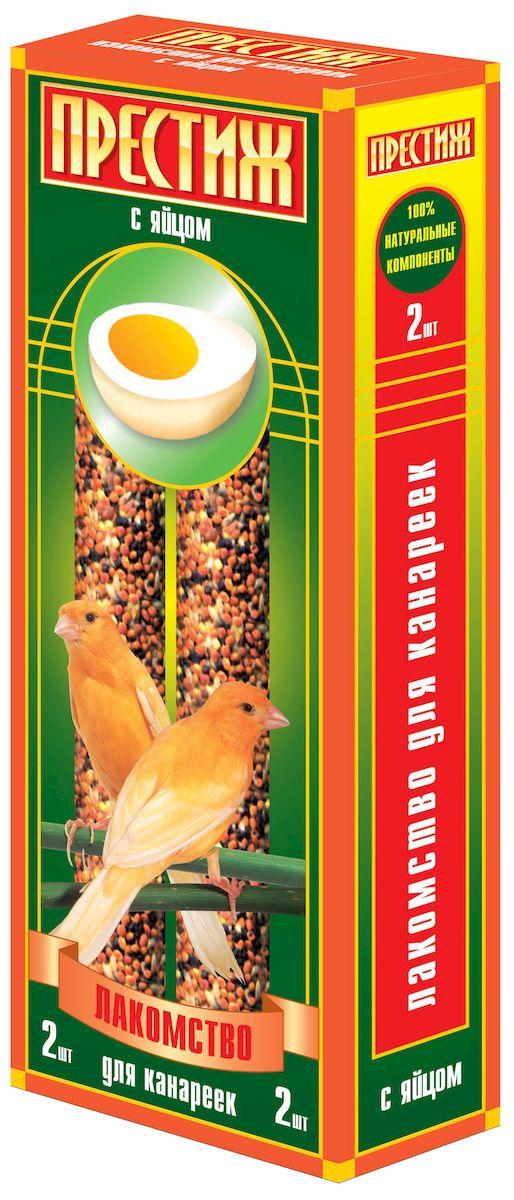 Лакомство для канареек Престиж, палочки с яйцом, 2 шт0120710Лакомство Престиж для канареек в виде жестких палочек с добавлением яйца, содержит только натуральные элементы. В состав входят только высокоочищенные зерновые культуры. Жесткие палочки идеально помогают отчищать и стачивать клюв вашего питомца, а так же являются замечательным дополнением к ежедневному пищевому рациону.Состав: просо красное, просо белое, просо желтое, канареечное семя, рапс, льняное семя, семена сорных трав, яйцо, витамины. Товар сертифицирован.