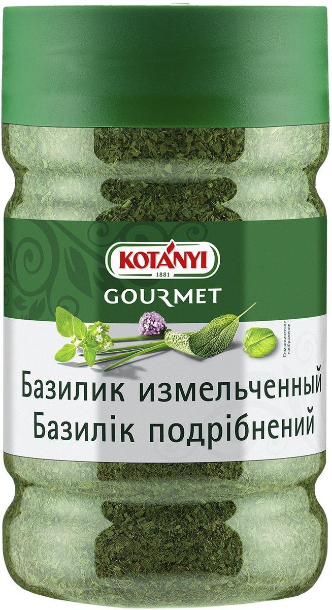 Kotanyi Базилик измельченный, 180 г413711Базилик обладает интенсивным пряным, перечным и сладковатым ароматом. Его нужно добавлять в блюда непосредственно перед сервировкой.Базилик - неотъемлемый ингредиент блюд итальянской и средиземноморской кухни. Он подходит к блюдам из томатов, рыбы, светлого мяса, пасты, салатов, супов, соусов. Кроме того, базилик придает пикантную нотку десертам, например, Панна Кота, щербетам и мороженому.