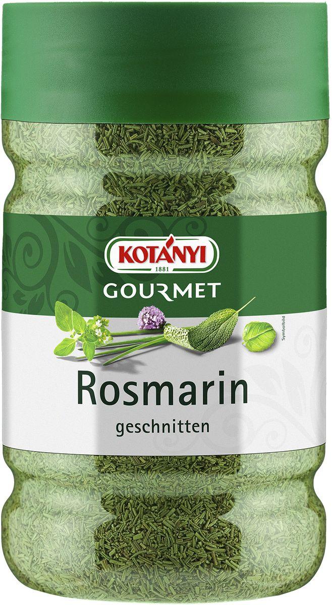 Kotanyi Розмарин нарезанный, 395 г0120710Розмарин обладает сильным ароматом и пряным, слегка горьковатым вкусом. Эфирные масла, содержащиеся в розмарине, придают блюдам неповторимый средиземноморский вкус.