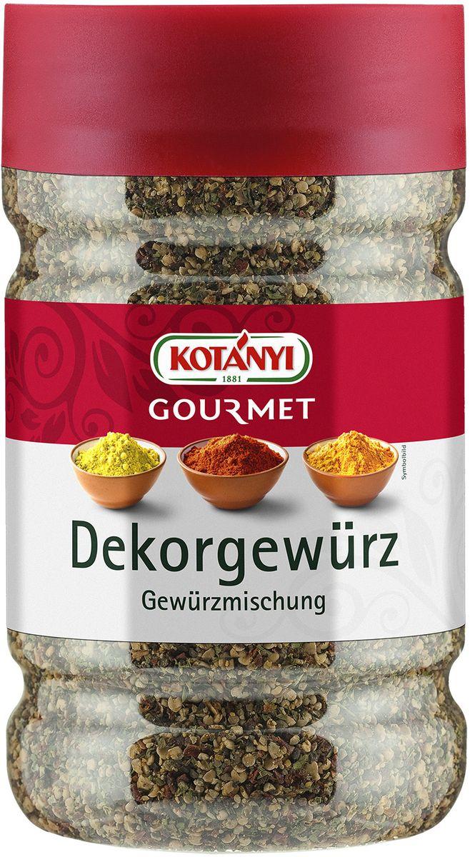 Kotanyi Для украшения блюд, 545 г0120710Приправа для украшения блюд - это сочетание перца и горчичной нотки. Может содержать следы глютеносодержащих злаков, яиц, сои, сельдерея, кунжута, орехов, молока (лактозы). Пищевая ценность в 100 г: энергетическая ценность: 273 кКал/1 кДж, белки 15 г, углеводы 45 г, жиры 11 г. Хранить плотно закрытым в сухом месте.