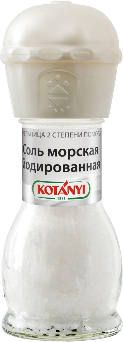 Kotanyi Соль морская йодированная, 92 г0120710Для получения морской соли морскую воду направляют в соляные озера, где она испаряется под воздействием солнца, оставляя только кристаллы соли. Соль Kotanyi универсальна в использовании. Она усиливает вкус блюд, является консервантом и используется для производства сыра.Мельница имеет две степени помола.