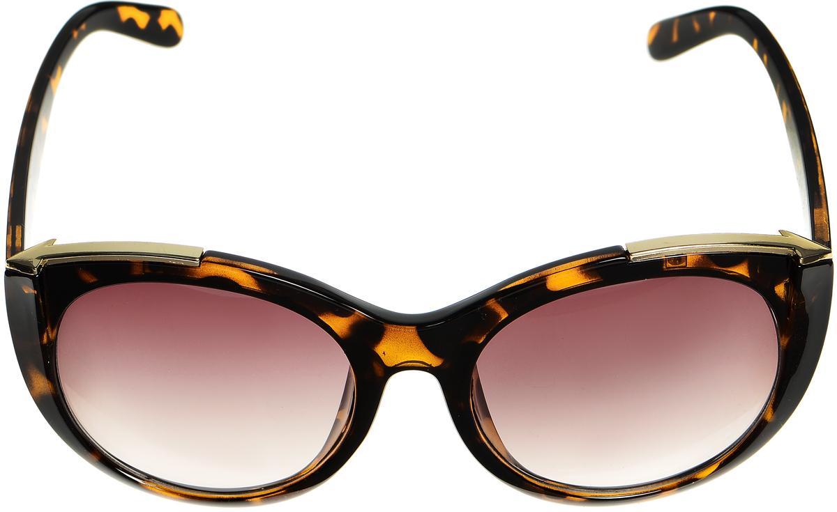 Очки солнцезащитные женские Selena, цвет: темно-коричневый, золотистый. 80033401BM8434-58AEСолнцезащитные женские очки Selena выполнены из высококачественного пластика со вставками из металла и оформлены оригинальным принтом.Линзы данных очков с высокоэффективным фильтром UV-400 Protection обеспечивают полную защиту от ультрафиолетовых лучей. Используемый пластик не искажает изображение, не подвержен нагреванию и вредному воздействию солнечных лучей.Такие очки защитят глаза от ультрафиолетовых лучей, подчеркнут вашу индивидуальность и сделают ваш образ завершенным.