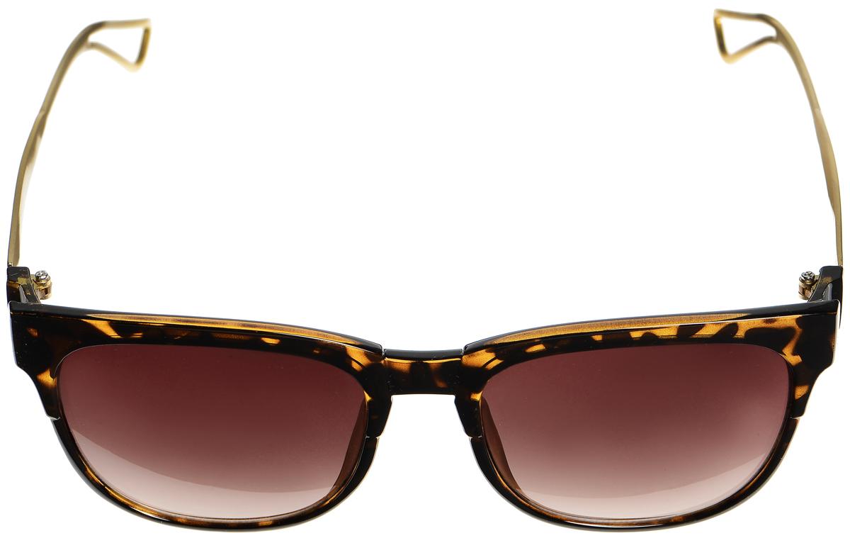 Очки солнцезащитные женские Selena, цвет: темно-коричневый, золотистый. 80033351BM8434-58AEСолнцезащитные женские очки Selena выполнены из металла с элементами из высококачественного пластика. Дужки по краям дополнены небольшими вырезами, а оправа оформлена оригинальным принтом.Линзы данных очков с высокоэффективным фильтром UV-400 Protection обеспечивают полную защиту от ультрафиолетовых лучей. Используемый пластик не искажает изображение, не подвержен нагреванию и вредному воздействию солнечных лучей.Такие очки защитят глаза от ультрафиолетовых лучей, подчеркнут вашу индивидуальность и сделают ваш образ завершенным.