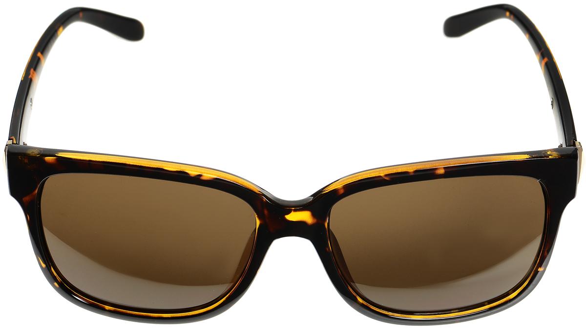 Очки солнцезащитные женские Selena, цвет: коричневый, золотистый. 80033321BM8434-58AEСолнцезащитные женские очки Selena выполнены из высококачественного пластика со вставками из металла и оформлены оригинальным орнаментом.Линзы данных очков с высокоэффективным фильтром UV-400 Protection обеспечивают полную защиту от ультрафиолетовых лучей. Используемый пластик не искажает изображение, не подвержен нагреванию и вредному воздействию солнечных лучей.Такие очки защитят глаза от ультрафиолетовых лучей, подчеркнут вашу индивидуальность и сделают ваш образ завершенным.