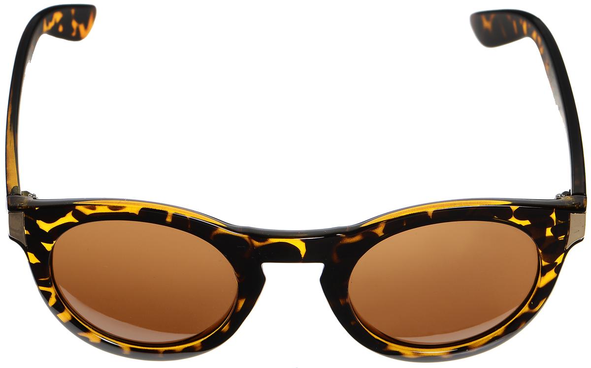 Очки солнцезащитные женские Selena, цвет: темно-коричневый, золотистый. 80033301BM8434-58AEСолнцезащитные женские очки Selena выполнены из высококачественного пластика. Дужки оформлены оригинальным рисунком и металлическими вставками.Линзы данных очков с высокоэффективным фильтром UV-400 Protection обеспечивают полную защиту от ультрафиолетовых лучей. Используемый пластик не искажает изображение, не подвержен нагреванию и вредному воздействию солнечных лучей.Такие очки защитят глаза от ультрафиолетовых лучей, подчеркнут вашу индивидуальность и сделают ваш образ завершенным.
