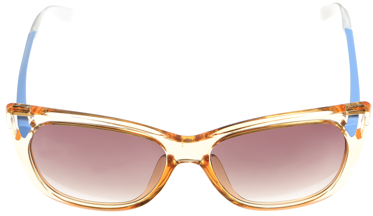 Очки солнцезащитные женские Selena, цвет: коричневый, голубой, белый. 80033561INT-06501Солнцезащитные женские очки Selena выполнены из высококачественного пластика и оформленные в разной цветовой гамме.Линзы данных очков с высокоэффективным фильтром UV-400 Protection обеспечивают полную защиту от ультрафиолетовых лучей. Используемый пластик не искажает изображение, не подвержен нагреванию и вредному воздействию солнечных лучей.Такие очки защитят глаза от ультрафиолетовых лучей, подчеркнут вашу индивидуальность и сделают ваш образ завершенным.