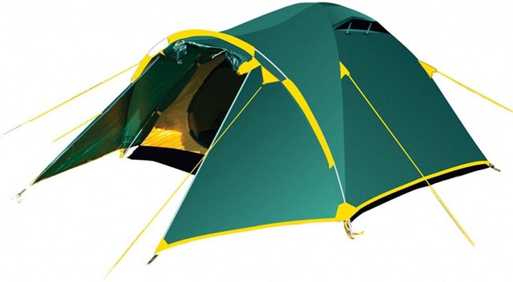 Палатка Тramp Lair 2, цвет: зеленыйKOCAc6009LEDДвухслойная палатка Тramp Lair 2 оснащена двумя входами. Внешний тент палатки устойчив к ультрафиолетовому излучению и имеет пропитку, задерживающую распространение огня. Имеется большой вместительный тамбур и два вентиляционных клапана. Все швы проклеены. Каркас выполнен из материала Durapol 8,5 мм. Палатка идеальна для туристических походов в весеннее, летнее и осеннее время.Размер спального места: 210 х 150 см.Размер тамбура: 100 + 50 см.
