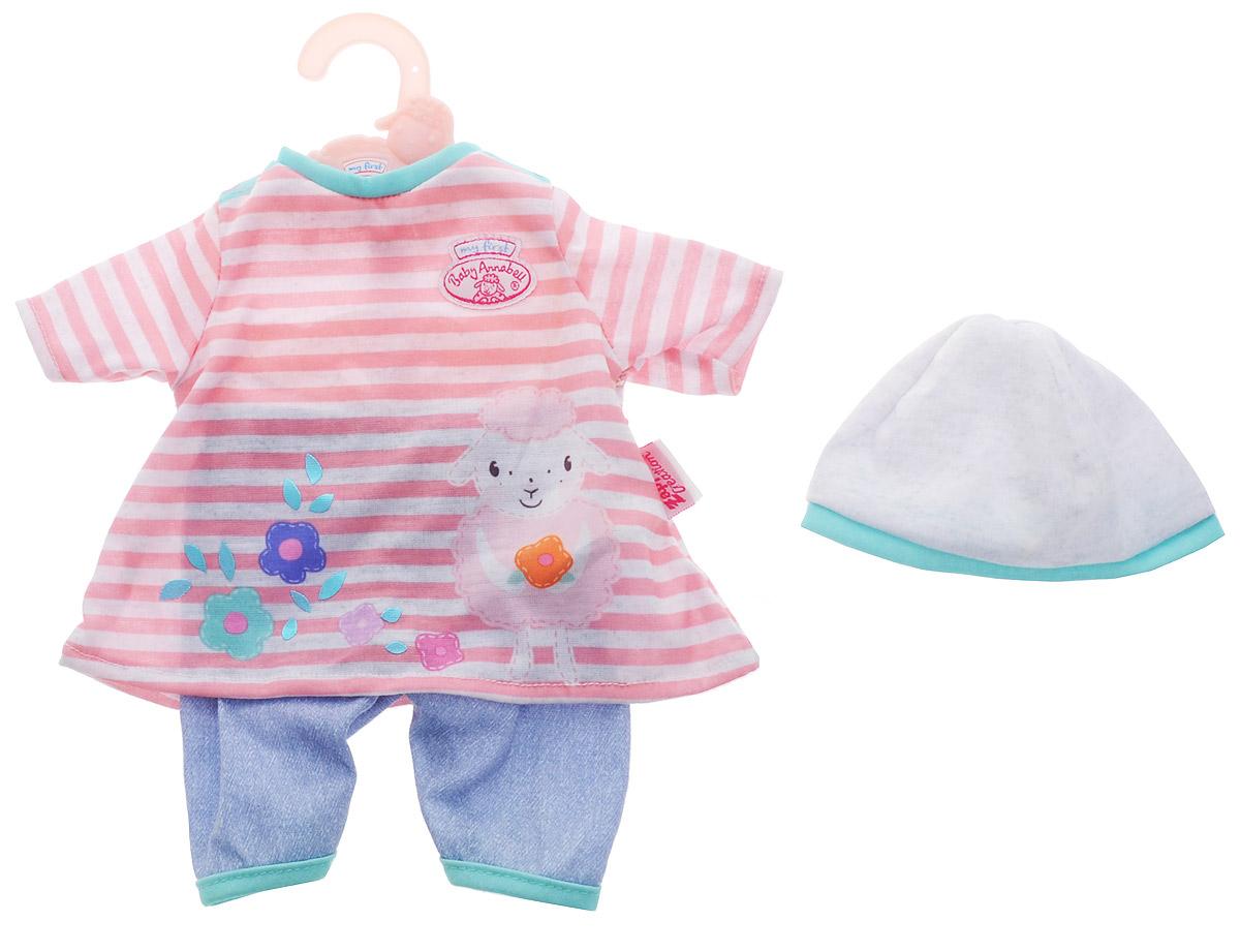 Baby Annabell Одежда для кукол Платье со штанишками цвет розовый светло-серый baby born платье для куклы baby annabell