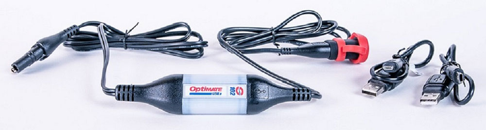 Влагозащищенное USB зарядное устройство OptiMate. O1022012506200424Влагозащищенное USB зарядное устройство OptiMate - это зарядное устройство для мобильных телефонов, камер и другой техники напрямую от аккумуляторной батареи. Ток заряда 1000мА, напряжение 5В. В комплект входят кабели Mini USB, Micro USB, удлинитель USB. Подключение к АКБ осуществляется с помощью аксессуаров Optimate O1, O2, O4, O5.
