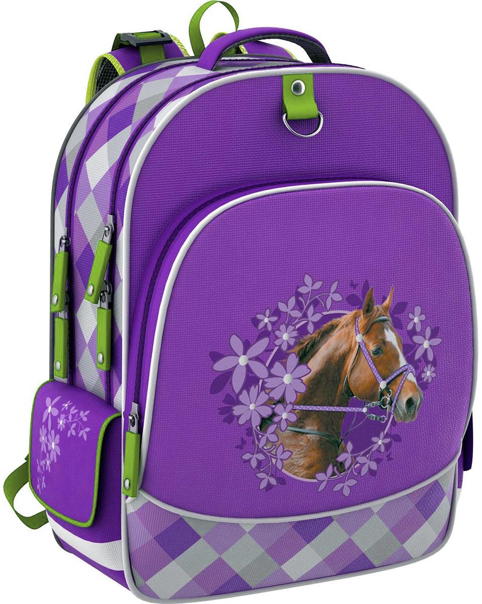 Erich Krause Рюкзак детский Wild Horse39203Школьный рюкзак Erich Krause Wild Horse станет надежным спутником в получении знаний. Рюкзак выполнен из прочного водостойкого полиэстера и оформлен объемной аппликацией лошади в окружении цветов. Рюкзак состоит из двух вместительных отделений, закрывающихся на застежки-молнии с двумя бегунками. Одно из отделений содержит кармашек для мелочей на застежке-молнии и три разделителя на широкой резинке. На лицевой стороне расположен внешний глубокий карман на застежке-молнии, который содержит два кармана без застежки, кармашек сеточкой на застежке-молнии, кармашек для мобильного телефона с клапаном на липучке и фиксатор для ручки. По бокам рюкзака находятся два внешних накладных кармана, закрывающихся клапаном на липучке.Конструкция ортопедической спинки рюкзака разработана по специальной технологии, позволяющей уменьшить нагрузку на спину. Рюкзак оснащен широкими мягкими лямками, регулируемыми по длине, которые равномерно распределяют нагрузку на плечевой пояс, удобной текстильной ручкой и петлей для подвешивания. Дно рюкзака дополнено двумя широкими пластиковыми ножками, которые помогут уберечь его от загрязнений и продлить срок службы. Рюкзак снабжен светоотражающими вставками.