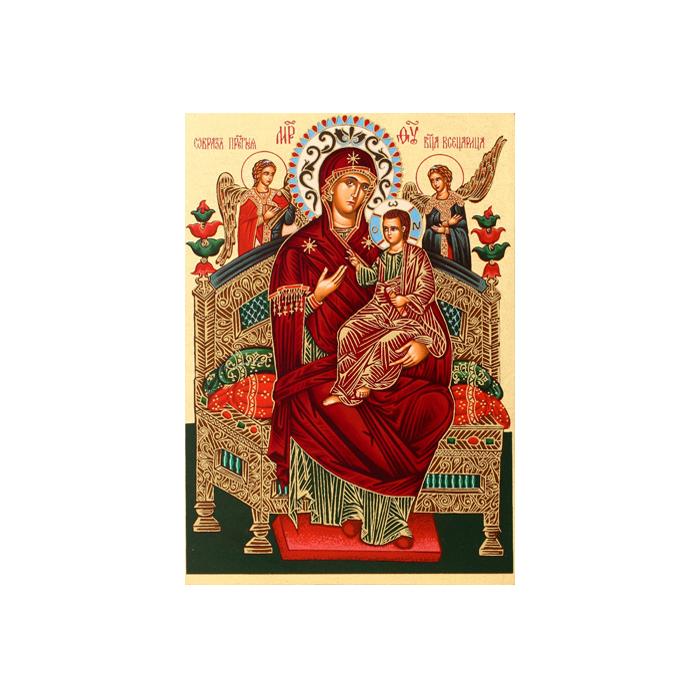 Икона Артола Всецарица, 18 см х 25 см х 2 смFS-91909Православная каноничная икона. Современная оригинальная интерпретация. Афинская иконописная школа. Метод нанесения образа на полотно - полноцветная многослойная шелкография. Золотой фон - поталь. Деревянная основа (мдф + шпон) имеет отверстие для крепления.