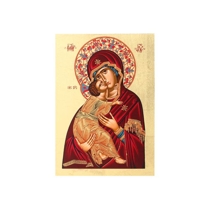 Икона Артола Владимирская, 18 см х 25 см х 2 смFS-91909Православная каноничная икона. Современная оригинальная интерпретация. Афинская иконописная школа. Метод нанесения образа на полотно - полноцветная многослойная шелкография. Золотой фон - поталь. Деревянная основа (мдф + шпон) имеет отверстие для крепления.