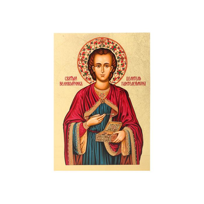 Икона Артола Св. Пантелеймон (в синем), 18 см х 25 см х 2 смFS-80418Православная каноничная икона. Современная оригинальная интерпретация. Афинская иконописная школа. Метод нанесения образа на полотно - полноцветная многослойная шелкография. Золотой фон - поталь. Деревянная основа (мдф + шпон) имеет отверстие для крепления.