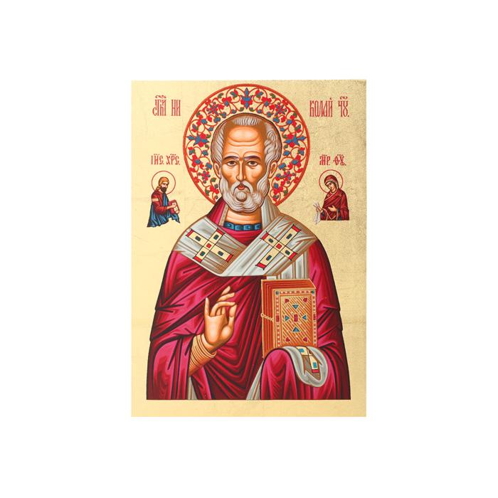 Икона Артола Святитель Николай, 18 см х 25 см х 2 смFS-91909Православная каноничная икона. Современная оригинальная интерпретация. Афинская иконописная школа. Метод нанесения образа на полотно - полноцветная многослойная шелкография. Золотой фон - поталь. Деревянная основа (мдф + шпон) имеет отверстие для крепления.