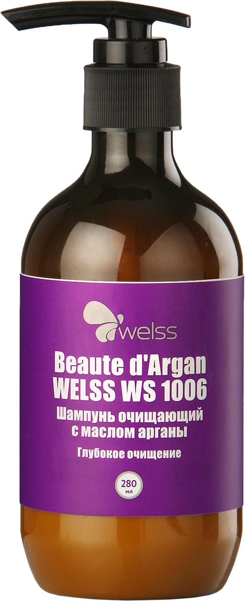 Шампунь очищающий с маслом арганы Beaute d`Argan WELSS WS 1006, 280млFS-00897Комбинация очищающих агентов, разработанная специалистами компании WELSS, глубоко очищает кожу головы и волосы по всей длине.Шампунь удаляет остатки укладочных средств и хлора, помогает регулировать баланс влажности, максимально подготавливает волосы к окрашиванию и химической завивке.