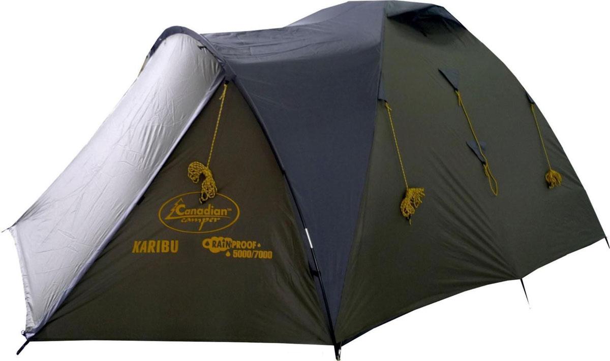 Палатка Canadian Camper Karibu 2, цвет: зеленый, серый30200047Небольшая уютная палатка Canadian Camper Karibu 2 пользуется особой популярностью среди туристов и любителей комфортного отдыха на природе. Ее легко можно брать с собой на небольшой пикник с ночевкой, подойдет она и для пеших походов или многодневного палаточного лагеря. Палатка оснащена небольшим тамбуром для вещей и навесом. Несмотря на небольшие габариты и вес, она позволяет комфортно разместиться небольшой группе из 2-3 человек вместе со снаряжением. Компактная в сложенном виде, но при этом просторная и высокая туристическая палатка Canadian Camper Karibu 2 легко устанавливается.Особенности: Водоотталкивающая пропитка.Быстросборный каркас.Внутренние карманы.Надежная водонепроницаемость.Антимоскитная сетка.Огнеупорная пропитка.Сумка-чехол для переноски и хранения в комплекте.Материал дуг: стекловолокно.Материал стоек: сталь.