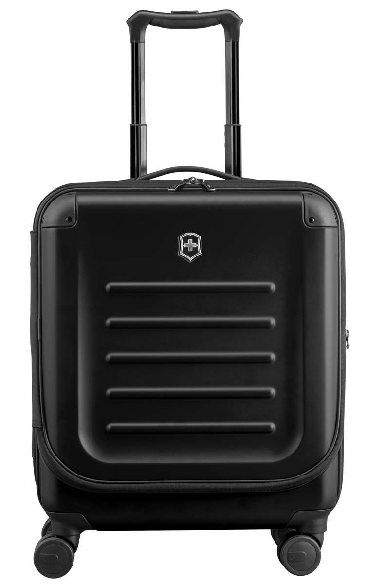 Чемодан Victorinox Spectra Dual-Access 2.0, 37 л, цвет: черный. 31318101 + ПОДАРОК: Нож Tinker31318101Чемодан Victorinox Spectra Dual-Access 2.0 выполнен из выполнен из ударопрочного поликарбоната Bayer. удобный чемодан со специальной дверцей для быстрого доступа к наиболее необходимым в путешествии вещам, идеально подходит для коротких поездок и отвечает большинству международных требований для ручной клади, включая требования Международной ассоциации воздушного транспорта IATAЛицевая дверца чемодана на молнии с организационной секцией дает возможность буквально на ходу получить доступ к наиболее необходимым в путешествии вещам, например, к ноутбуку с диагональю до 15. 6 (40 см), планшету, смартфону, паспорту, билетам и другим вещамКонструкция чемодана с двойным доступом позволяет упаковывать вещи с двух сторон: через переднюю крышку или, открыв основное Отделение.Удобная ручка для переноски, двойная алюминиевая телескопическая ручка, фиксирующаяся в трех разных позициях: 104 см, 99 см и 94 см для удобства путешественников с разным ростом. Двойные колеса обеспечивают мягкий ход чемодана и гарантируют свободное перемещение по любой поверхности, сохраняя при этом 360° маневренность и минимальный вес чемодана.Ударопрочный 100% поликарбонат Bayer, со стильной, устойчивой к царапинам матовой поверхностью обеспечивает повышенную жесткость, сохраняя высокий уровень функциональности.Защитные угловые кожухи.Сетчатая разделительная стенка на молнии растягивается для удобства упаковки.