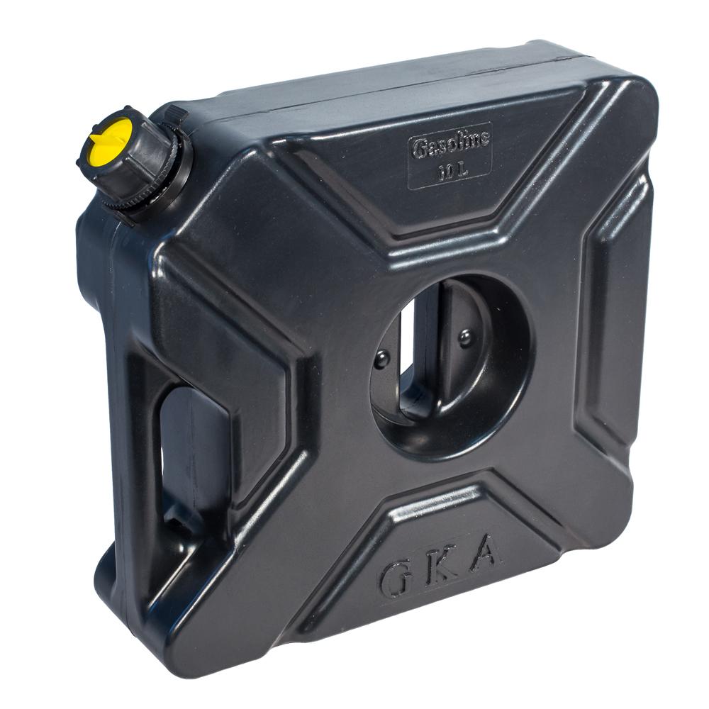 Канистра экспедиционная GKA, цвет: черный, 10 л94672Канистра экспедиционная плоская 10 литров GKA. Изготавливаются из высокопрочных полимеров. Предназначена для любого вида топлива и воды.Укомплектованы гибким носиком для розлива жидкостей. Уплотнитель и антивибрационная система крышки не позволяет жидкости расплескиваться.