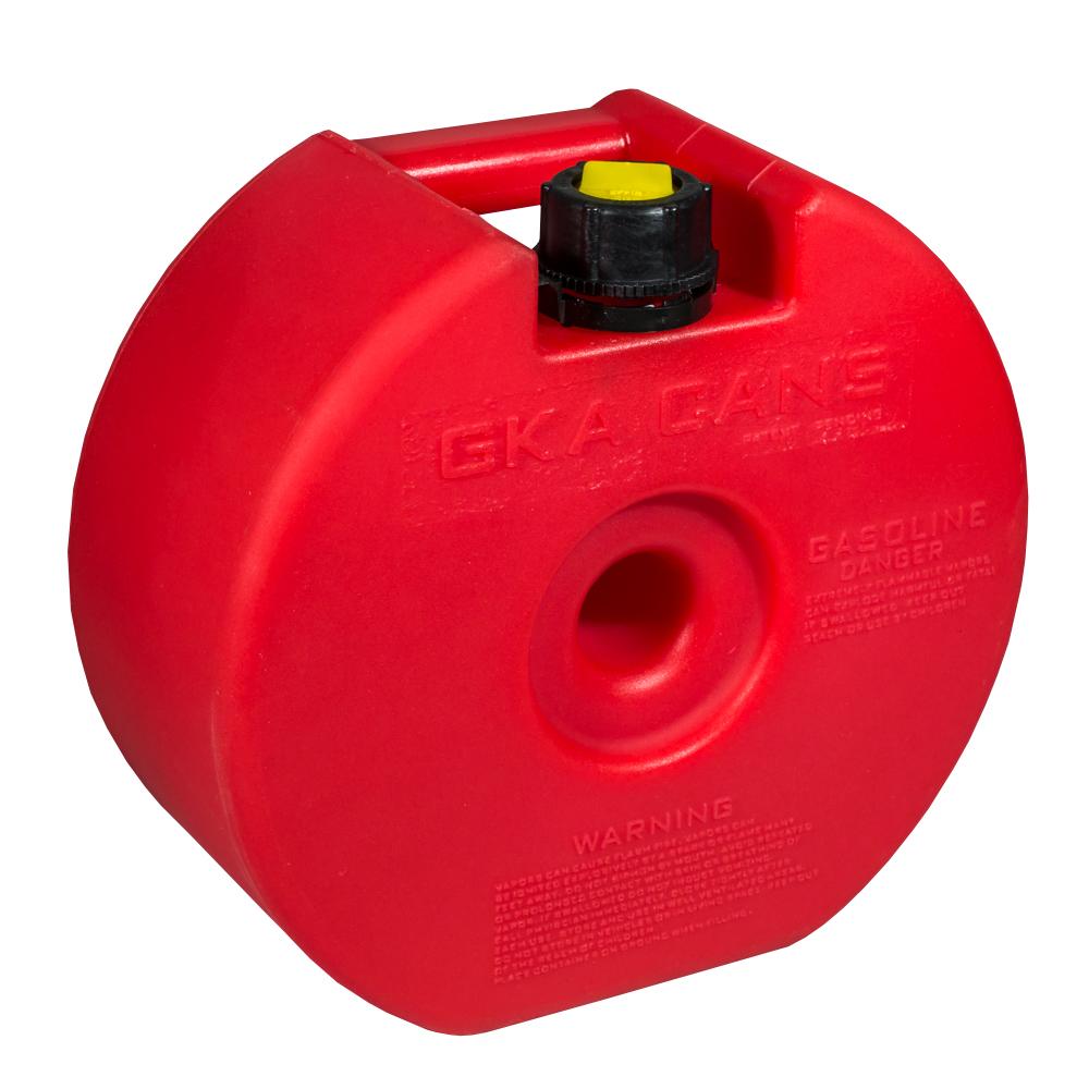Канистра экспедиционная GKA НЗ, в запасное колесо, цвет: красный, 4 л434410Канистра в запасное колесо 4 литра GKA. Канистра удобно помещается внутрь запасного колеса практически любого автомобиля. Изготавливаются из высокопрочных полимеров. Укомплектованы гибким носиком для розлива жидкостей. Уплотнитель и антивибрационная система крышки не позволяет жидкости расплескиваться