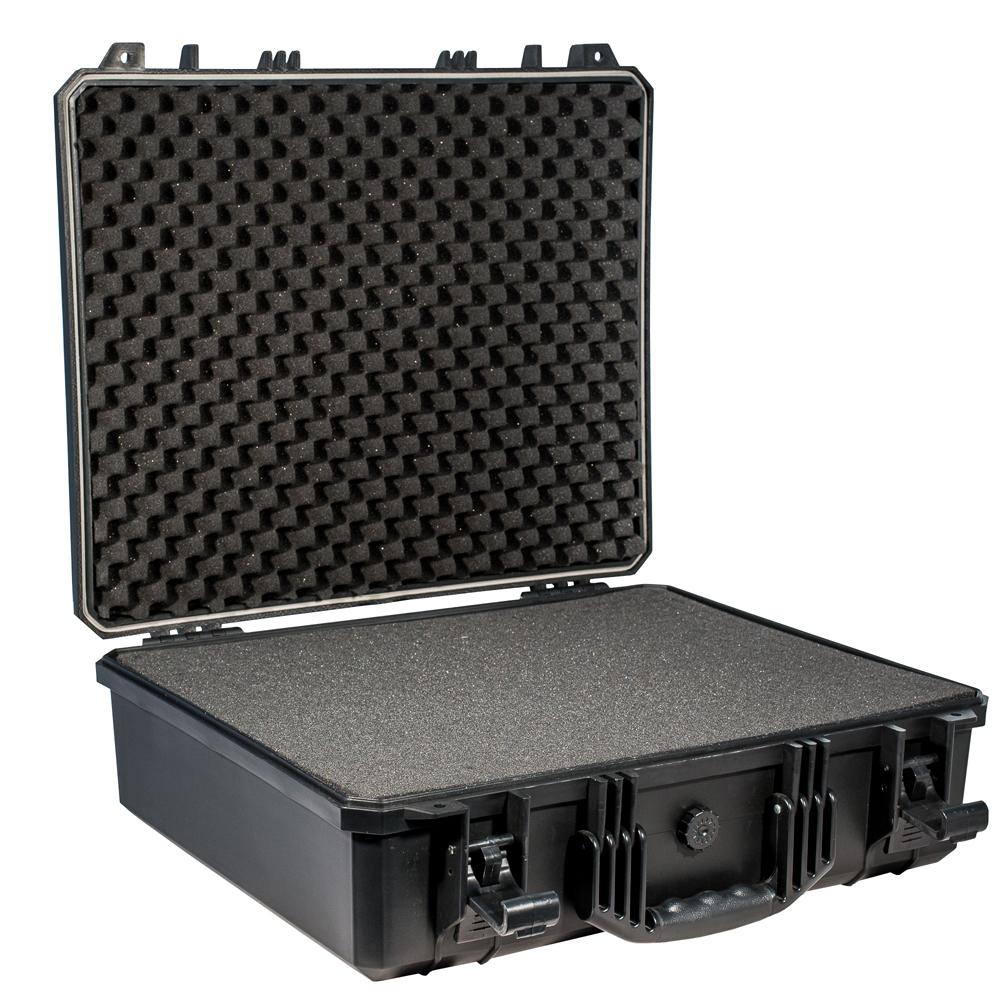 Кейс противоударный PRO-4x4 №6, влагозащищенный, 53,8 х 43,2 х 16,5 см, цвет: черныйTEMP-05Владельцы квадрокоптеров и других авиамоделей по достоинству оценят кейс №6 с поропластом. В нем отличное сочетание большой площади и небольшой глубины, куда хорошо помещаются летательные аппараты любительского класса. Также широко применяется для IT-оборудования или для перевозки ноутбуков..Защищенные кейсы -это надежный и проверенный способ сохранить в целостности дорогостоящее оборудование, требующее бережной транспортировки и гарантированной сохранности. Кейсы снабжены удобными и надежными ручками, в крышке имеется паз с резиновым уплотнением. Так же все кейсы имеют клапан выравнивания давления.