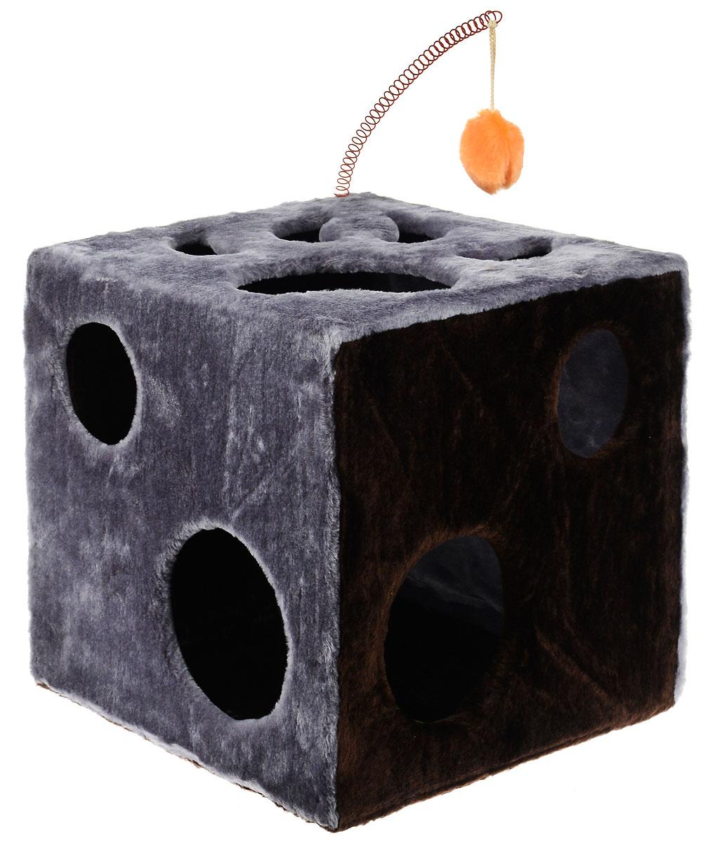Домик для кошек ЗооМарк Кубик с лапкой, с игрушкой, цвет: серый, темно-коричневый, 42 х 42 х 42 см101246Домик ЗооМарк Кубик с лапкой непременно станет любимым местом отдыха вашего домашнего животного. Он изготовлен из высококачественного дерева и обтянут искусственным мехом. Домик оформлен крупными отверстиями в виде лапы животного и кружков. Оригинальный домик для животных - отличное место, чтобы спрятаться. Также там можно хранить свои охотничьи трофеи. Сверху расположена игрушка на пружине.