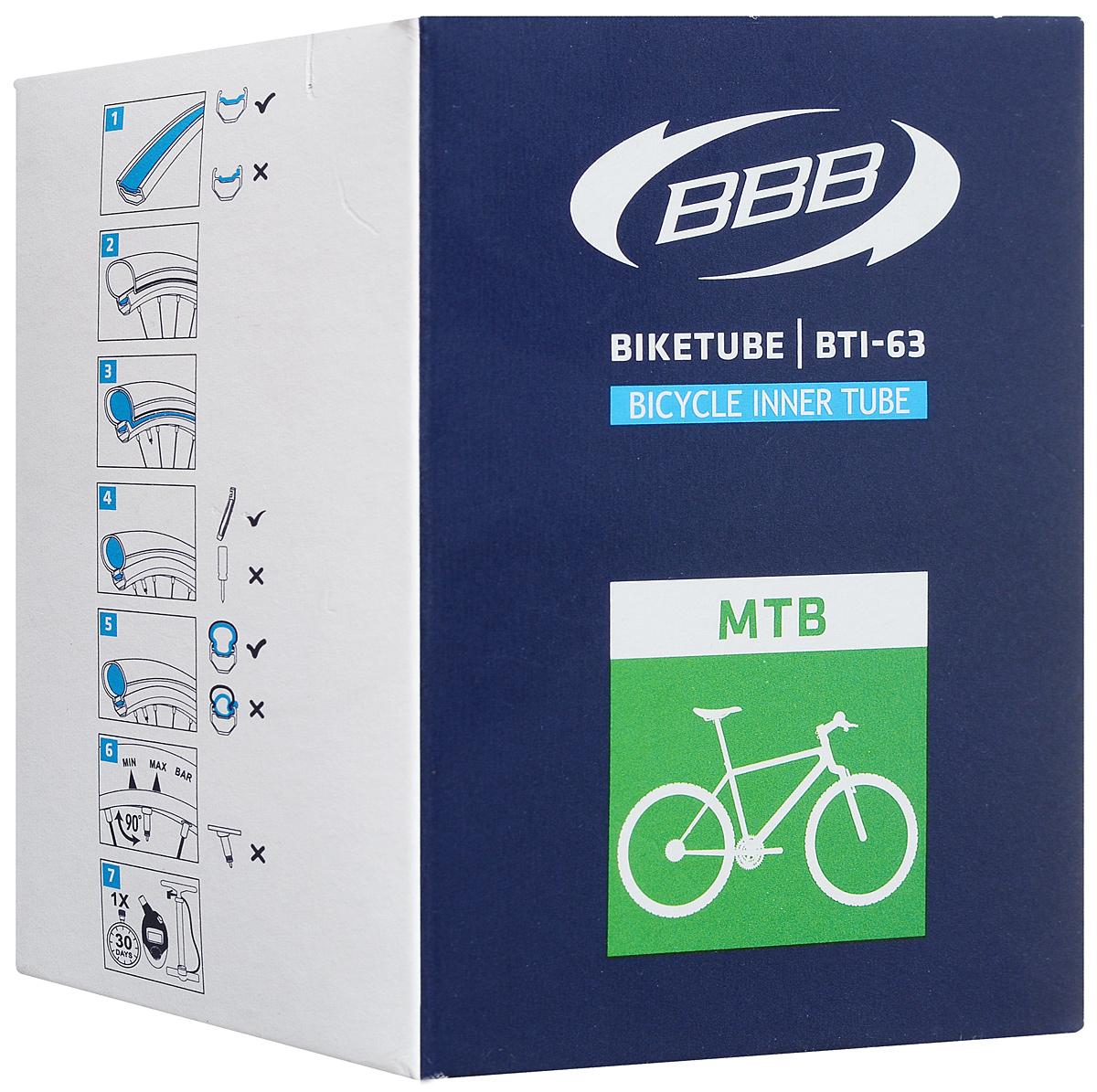 Велокамера BBB 26 in 1,9/2,125 AV. BTI-638431Размер колеса: 26Автомобильный ниппель (Schrader) 33 ммКамеры BBB изготовлены из долговечного резинового компаунда. Никаких швов, которые могут пропускать воздух. Толщина стенки: 0.87 мм. Достаточно большая для защиты от проколов и достаточно небольшая для снижения веса.