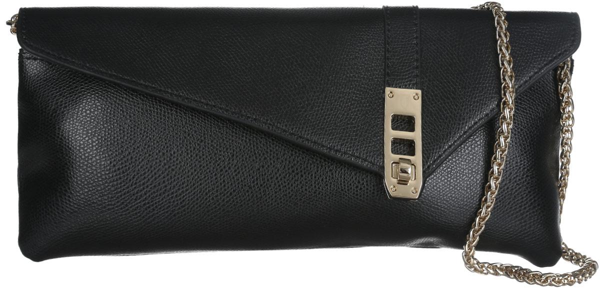 Сумка-клатч женская Leo Ventoni, цвет: черный. LV6044S76245Стильный клатч Leo Ventoni, изготовленный из натуральной кожи, оформлен металлической фурнитурой.Изделие застегивается клапаном на замок-вертушку. Внутри сумки расположен врезной карман на молнии. На задней стороне сумки расположен накладной карман на магнитной кнопке. Изделие оснащено плечевым ремнем в виде объемной цепочки. В комплекте с изделием поставляется фирменный чехол для хранения. Элегантный клатч прекрасно дополнит ваш образ.